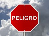 Stop Sign With Word Peligro Danger