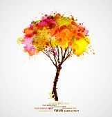 autumn abstract tree forming by blots