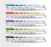 Coleção de elementos web, item de menu, carrossel, ícones, fitas, modelo para cabeçalhos, rodapés, barra,