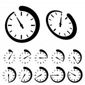 stock photo of chronometer  - vector round black timer icons - JPG