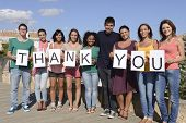 stock photo of gratitude  - Group of diverse people holding sign Thank - JPG