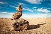 Rock cairn in the desert