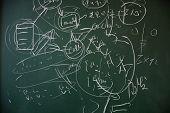 math formulas on a blackboard
