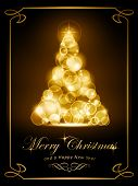 Warmly sparkling Christmas tree made of defocused light dots on dark brown background. Light effects