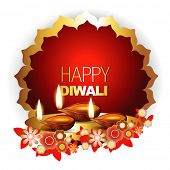 stock photo of diya  - beautiful diwali vector background with space for your text - JPG