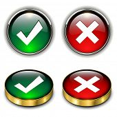 Accept and negate, yes no icons, vector illustration.