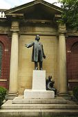Henry Ward Beecher statue by sculptor Gutzon Borglum at Plymouth Church of the Pilgrims