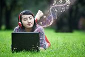 Female Listening To Music Outdoor