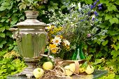Samovar, Wild Flowers Bouquets And Apples