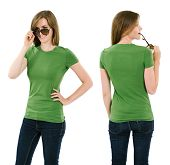 Young Brunette Woman With Blank Green Shirt