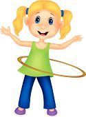 Cute cartoon girl twirling hula hoop