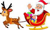 stock photo of waving hands  - Vector illustration of Cartoon Santa drives his sleigh - JPG