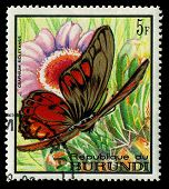 Burundi - Circa 1968: A Stamp Printed In Burundi, Shows Butterfly Graphium Ridleyanus, Series, Circa