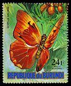 Republic Of Burundi - Circa 1974: A Stamp Printed In Burundi Shows A Butterfly Catopsilia Avelaneda,