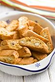cantuccini cookies in ceramic bowl on kitchen table