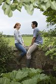 Full length side view of a smiling couple sitting on countryside wall against landscape