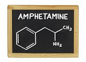 chemical formula of amphetamine on a blackboard