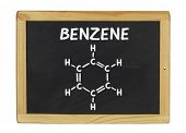 chemical formula of benzene on a blackboard