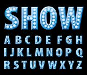 vector blue entertainment and show letters with bulb lamps