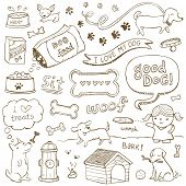 stock photo of stick  - Dogs and dog accessories illustrated in a doodled style - JPG