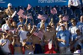 Jul 01 2009; Rome Italy; Team USA in the stands to cheer on their team mate Elizabeth Pelton (USA) at the 13th Fina World Aquatics Championships held in the The Foro Italico Swimming Complex.