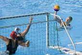 Jul 23 2009; Rome Italy; Jane Moran (AUS) takes a shot at the goal competing in the  waterpolo match between Australia and New Zealand in the 13th Fina World Aquatics Championships