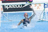 Jul 25 2009; Rome Italy; USA team player Elizabeth Armstrong saves a shot during the quarter final Qualification round match between China and USA 12-9, at the Fina World Aquatics Championships