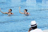 Jul 24 2009; Rome Italy; Olivia Allison and Jenna Randall (GBR) perform in front of the judges while