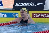 Jul 27 2009; Rome Italy;  Brenton Rickard (AUS) celebrates winning   the mens 100m breaststroke final in a world record time of 58.58 at the 13th Fina World Aquatics Championships
