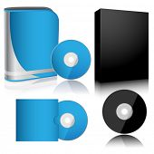 Illustration software box and disc isolated on white background.