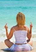 Middle Finger Gesture By Woman On A Beach