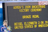 Jul 01 2009; Rome Italy; Elizabeth Beisel (USA) during the medal ceremony for the womens 200m backst