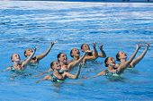 Jul 25 2009; Rome Italy; Team USA competing in the final round of the women's team synchronised swim