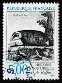 Postage Stamp France 1988 Badger, Buffon's Natural History