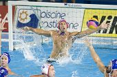 Jul 30 2009; Rome Italy; USA team goalkeeper Merrill Moses saves a shot during the semi final match between USA and Spain at the 13th Fina World Aquatics Championships