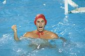 Jul 30 2009; Rome Italy; Spain team player Inaki Aguilar celebrates winning the semi final match between USA and Spain, at the 13th Fina World Aquatics Championships