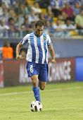 MALAGA, SPAIN. 19/09/2010.  Jesus G�?�?�?�¡mez the Malaga defender runs with the ball during th