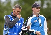 SAINT-OMER, FRANCE. 19-06-2010, Matthew Zions (AUS) and caddy at the European Tour, 14th Open de Sai