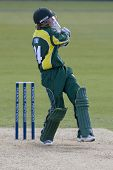 May 03 2009; Southampton Hampshire, J Cobb hits the ball to a fielder and is out, competing in Frien