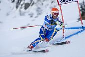 VAL GARDENA, ITALY 18 December 2009. Patrik Jaerbyn (SWE)  competing in the Audi FIS Alpine Skiing W