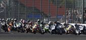 27 Sept 2009; Silverstone England: Rider number 7 James Ellison (GBR) leads the pack into the first