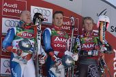 SOELDEN AUSTRIA OCT 26,  The top 3 Ligety, Cuche and Albrecht in the mens giant slalom race at the R