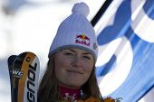 SOELDEN AUSTRIA OCT 25, Lindsey Vonn after competing in the womens giant slalom race at the Rettenba