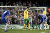 LONDON ENGLAND 23-11-2010. Chelsea's forward Didier Drogba  gets an injured ankle during the UEFA Ch