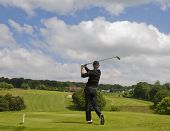 SAINT-OMER, FRANCE. 16-06-2010, A golfer in action on the preview day of the European Tour, 14th Ope