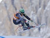 VAL GARDENA, ITALY 17 December 2009. Bode Miller (USA) takes the the air while  competing in the Audi FIS Alpine Skiing World Cup downhill training session