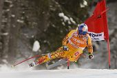 VAL GARDENA, ITALY 19 December 2009. Erik Guay (CAN) takes to the air whilst attacking the Ciaslat b