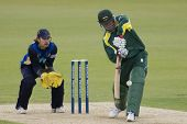 May 03 2009; Southampton Hampshire H Dippenaar hits the ball watched by T Burrows competing in Frien