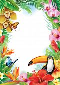stock photo of jungle birds  - Frame with tropical flowers - JPG
