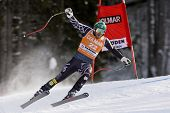 VAL GARDENA, ITALY 19 December 2009. Bode Miller (USA) takes to the air whilst attacking the Ciaslat bend, while competing in the Audi FIS Alpine Skiing World Cup Downhill race on the Saslong course